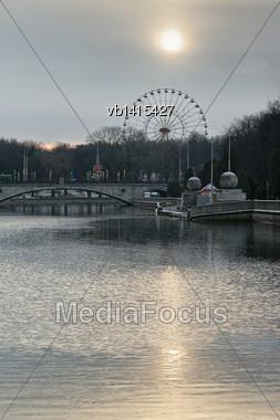 Overcast November Morning In The City Minsk, Belarus Stock Photo