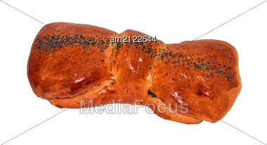 Overhead View Of A Freshly Baked Crusty Fancy Loaf Of Bread In The Shape Of A Bow Dusted With Seeds Stock Photo