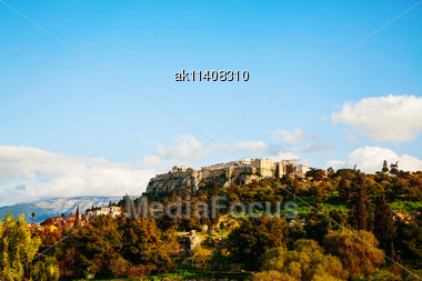 Overview Of Acropolis In Athens, Greece On A Sunny Day Stock Photo