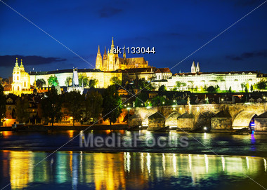 Overview Of Old Prague From Charles Bridge Side In The Night Stock Photo