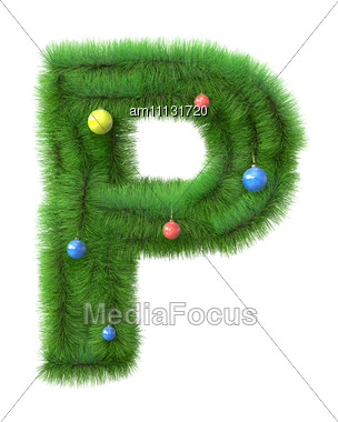 P Letter Made Of Christmas Tree Branches Stock Photo