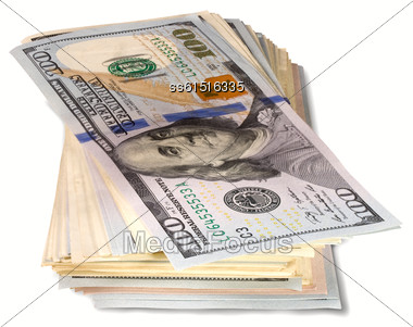 Pack Of Banknotes On One Hundred Dollars On White Background Stock Photo