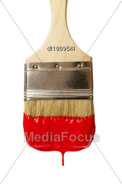 Paint Brush With Color Drop Stock Photo