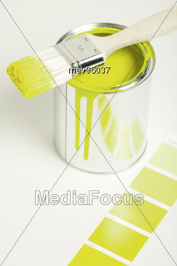 Paint Buckets, Brushes And Color Chart Stock Photo