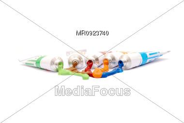 Paint Color tubes Stock Photo