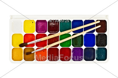 Paintbox Twenty Four Colors And Two Brushes Stock Photo
