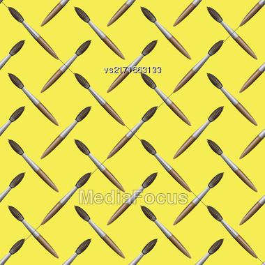 Paintbrush Seamless Pattern On Yellow Background. Set Of Brushes Stock Photo