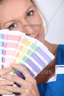 Painter Holding Colour Samples Stock Photo