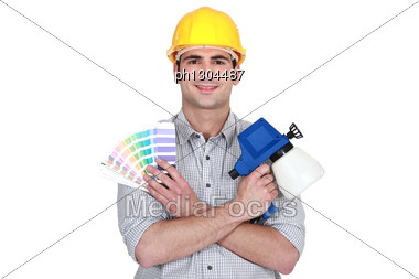 Painter With Color Samples Stock Photo