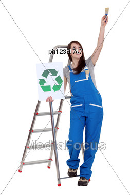 Painter With Recycling Sign Stock Photo