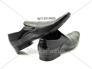 Pair Of Classic Men's Patent-leather Shoes Stock Photo