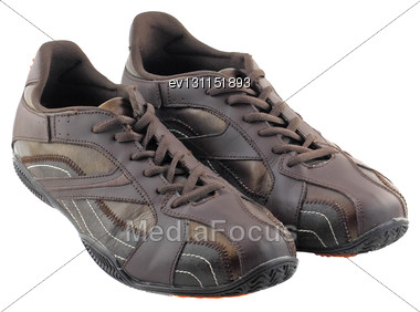 Pair Of Leather Brown Sneakers. Isolated Over White Stock Photo