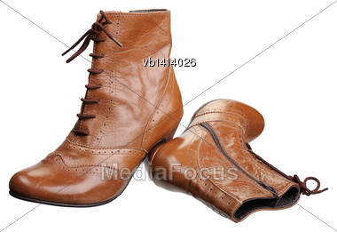 Pair Of Women Boots, Isolated On White Background Stock Photo