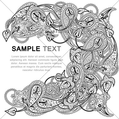 Paisley Pattern With Copy-space Frame Stock Photo