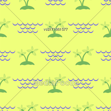 Palm Seamless Pattern On Isolated Yellow Background Stock Photo