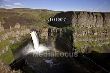 Palouse Waterfall Washington State Park In Spring Stock Photo