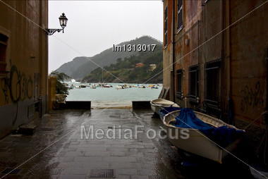 Panaoramas In Village Of Portofino In The North Of Italy Liguria And Street Lamp Stock Photo