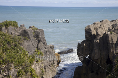 Pancake Rocks New Zealand Summer Blue Sky Stock Photo