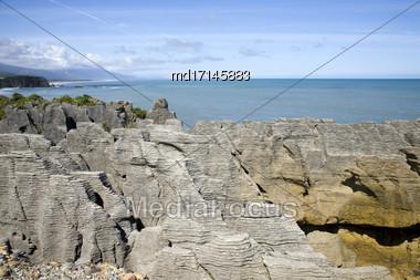 Pancake Rocks New Zealand Summer Blue Sky Stock Photo