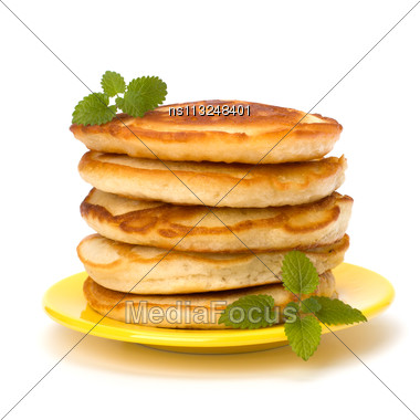 Pancakes Stack On White Background Stock Photo