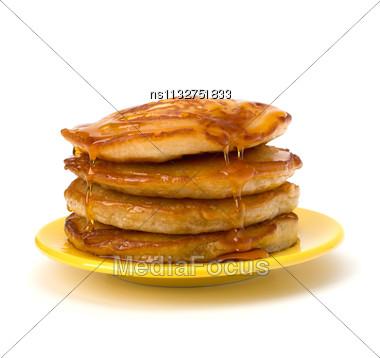 Pancakes Stack On White Background Stock Photo