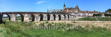 Panorama Of The City Of Gian With Its Castle And The Loire River Stock Photo