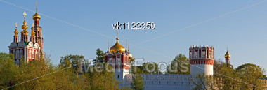 Panorama of domes and towers of Novodevichy Convent Stock Photo