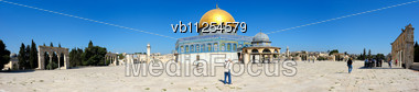 Panorama Of Temple Mount, Dome Of The Rock And El Aqsa Mosque In Jerusalem, Israel Stock Photo