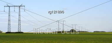 Panorama, Transmission Line On A Background Of Blue Sky Stock Photo