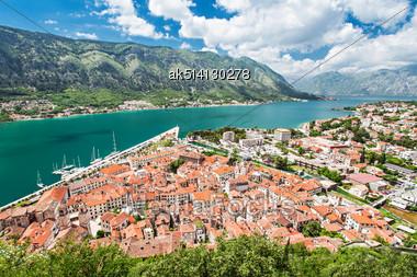 Panorama View To Kotor Bay In Montenegro Stock Photo