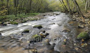 Panorama Of A Wild River, Autumn In A Neris Park Of A Lithuania Stock Photo