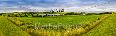 Panoramic Hdr Coutry View Of A Lake And Fields In Prince Edward Island Canada Stock Photo