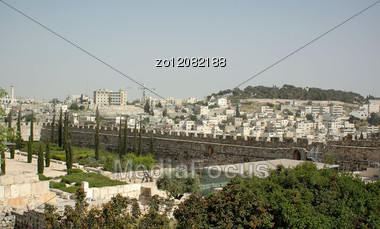 Panoramic Photo Of The City Of Jerusalem In Israel Stock Photo