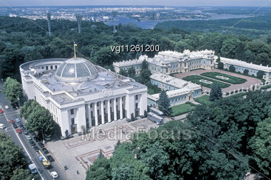 Panoramic View Of Mariinsky Palace,kiev,ukraine,official Residence Of The President Of Ukraine Stock Photo