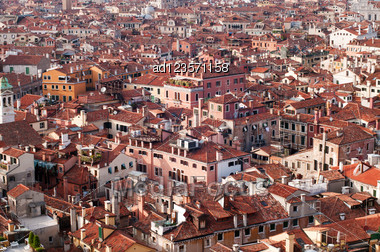 Panoramic View Of Towns Roofs Of Venice, Italy Stock Photo