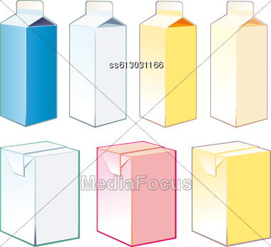 Paper Cartons For Milk And Juice Stock Photo