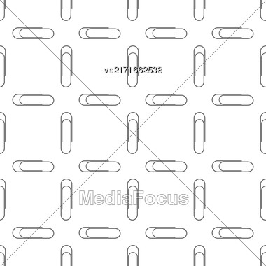 Paper Clip Silhouette Seamless Pattern On White Stock Photo