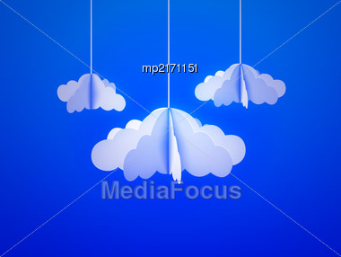 Paper Cloud In Origami Style On The Sky Background. Vector Illustration Stock Photo