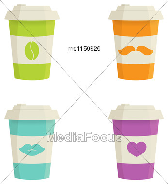 Paper Coffee Cups Set On A White Background. Vector Illustration In Flat Colors Stock Photo