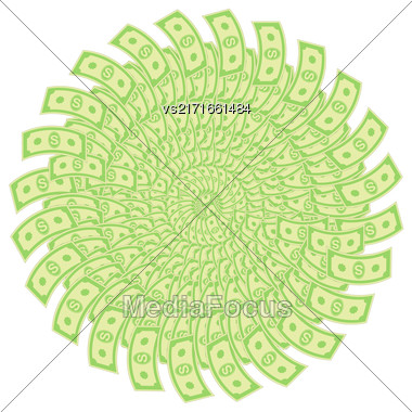 Paper Dollars Isolated On White Background. American Banknotes. Cash Money. US Currency Stock Photo