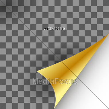 Paper Gold Page Curl With Shadow On Checkered Background Stock Photo