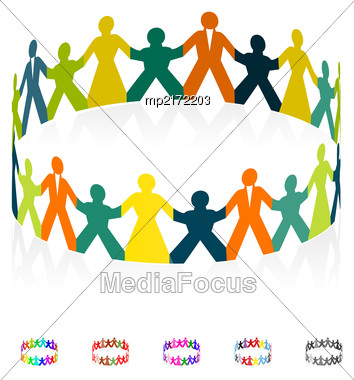 Paper Men, Women And Children Holding Hands In The Shape Of A Circle. Vector Illustration Stock Photo