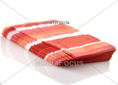 Paper Napkins On White Background Stock Photo