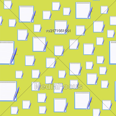 Paper Notebook And Blue Pen Seamless Pattern On Yellow Background Stock Photo