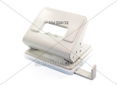 Paper Puncher On White Background Isolate Stock Photo