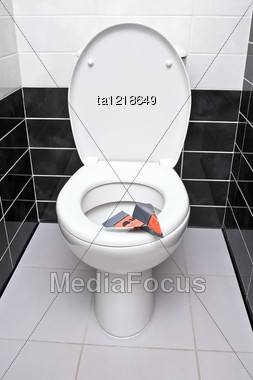 Paper Sanitary Plane Is On The Seat Of Toilet Bowl Stock Photo