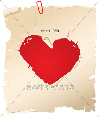 Paper Torn In The Shape Of Heart. Elements For Valentine`s Day Design Stock Photo