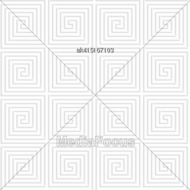 Paper White 3D Geometric Background. Seamless Pattern With Realistic Shadow And Cut Out Of Paper Effect.White Paper 3D Spiral Connecting Squares Stock Photo