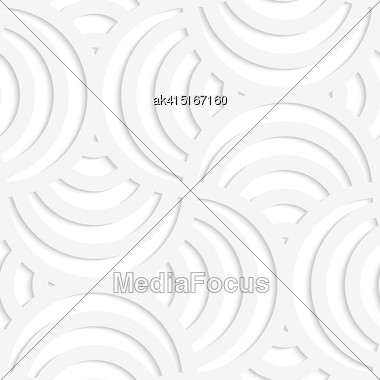 Paper White 3D Geometric Background. Seamless Pattern With Realistic Shadow And Cut Out Of Paper Effect.White Paper 3D Four Stripes Circle Pin Will Stock Photo