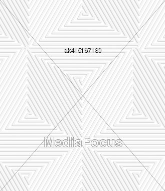Paper White 3D Geometric Background. Seamless Pattern With Realistic Shadow And Cut Out Of Paper Effect.White Paper 3D Spiral Connecting Cubes Stock Photo